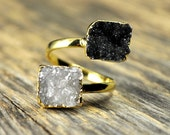 New Years SALE - Druzy Ring, Natural Druzy, Adjustable Druzy Ring, Gold Druzy Ring, Freeform Druzy Ring, Double Druzy Ring, Druzy Jewelry...