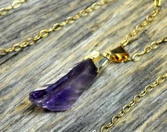 Amethyst Necklace, Amethyst Pendant, Gold Amethyst, Amethyst Pendant, Pendant, Raw Amethyst. Amethyst Point, Purple Amethyst, 14k Gold Fill