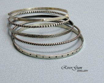 Sterling Silver Bangle, Thin Silver Bangle, Set of Five, Oxidized Bangles, Rustic, Handmade by RiverGum Jewellery