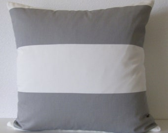 White - Grey stripes - pillow cover - Cabana - Twill Storm - Decorative - Accent - Cushion Cover