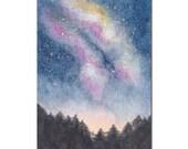 Starry Night Sky ACEO Original Watercolor Painting, Miniature Painting, Miniature Art, Stars, Space, Galaxy, Milky Way