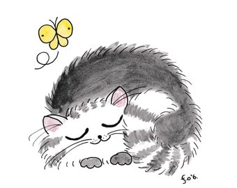 Sleepy Kitty - 16cm x 16cm Print - Watercolour, Pen and Ink Drawing - Made in Ireland