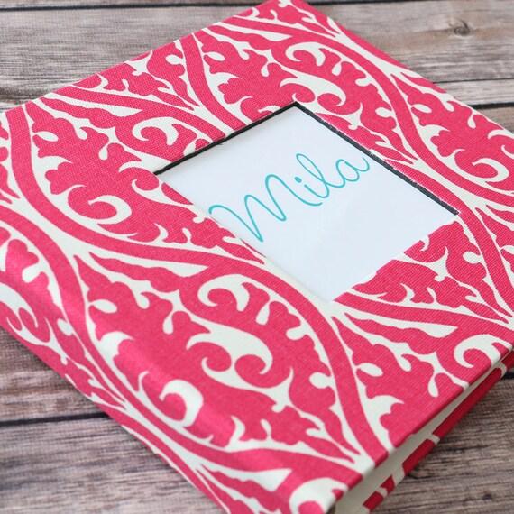 Baby Book, Baby Gift, Baby Album, Baby Memory Book, Baby Keepsake, Modern Baby Book, Pink and White Damask