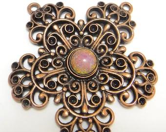 Victorian Filagree Flower Charm Casting Antique Copper Floral Pendant M-102