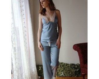 silk pajama pants with embroidered lace trim in cropped length - ALICE stretch charmeuse bridal range - made to order