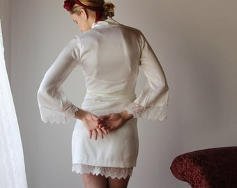 bridal silk robe with embroidered lace trim sleeves - ALICE charmeuse with spandex bridal range - made to order