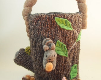 Imaginative woodland play and storage bag made from all natural repurposed wool sweaters