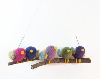 bird mobile,tiny songbirds, birds on branch, baby mobile,  waldorf decor, nursery decor, colourful birds, fibre art birds,