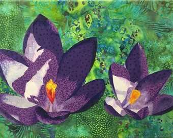 Purple Crocuses Original Fabric Collage by Lenore Crawford