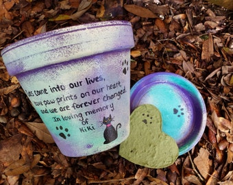 Pet Memorial Gifts - Painted Flower Pots - Heart Shaped Seed Card - Cat Memorial - Pet Sympathy Gifts - Personalized