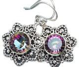 Sale, Ukrainian Style Beautiful Mystic Topaz Earrings, 925 Silver,Gift for Her