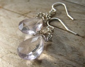 Lavender Amethyst Gemstone Earrings, Spring Lilac Amethyst Bright Sterling Silver Earrings Pastel Spring Fashion made in Israel