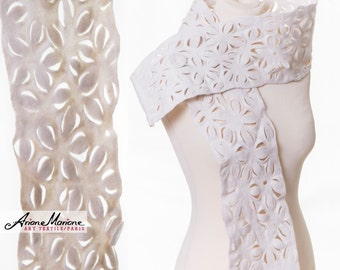 Wowy White Woman wool Scarf, Extraordinary Felt Shawl, Lace Flower Art accessories, Paris Designer shawl, Eco Fashion,  wearable art