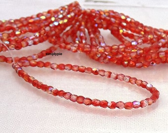 DOLLAR SALE Berry Punch AB Czech Beads 3mm Fire-Polished 50 Faceted Round Glass