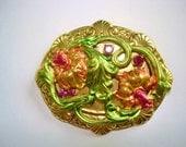 Flower Vintage Multi Color Flower Jewelry Brooch KL Design