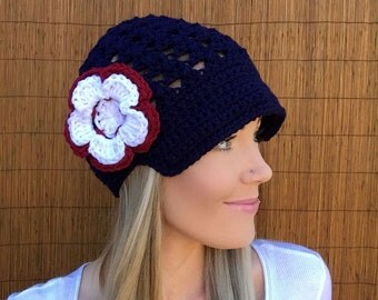 New England Patriots Navy Blue Cap w/ Visor & White Crimson Red Detachable Flower Crochet Accessory Hat Knit Accessories Beanie Head Hair