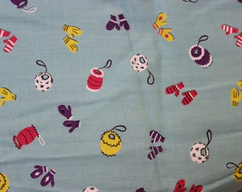 "Cotton Fabric Novelty unused yardage  57"" length 44"" width Mittens Muffs VINTAGE by Plantdreaming"