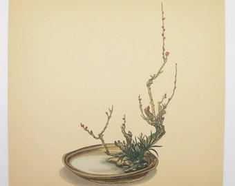 Vintage Flower Art, Plum Branches Rodgers Bronze-Leaf 1936 Ikebana Japanese Flower Arrangement, Vintage Botanical Art Print for Grouping