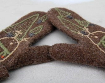 "Hand felted wool mittens -  ""For him"""