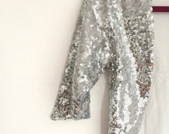 DISCOUNTED SMALL - Silver Sequin Bolero, Wedding Cropped Bolero, Vintage Feel, Sparkle, New Years, Party, Formal, Bridesmaids - SALLY