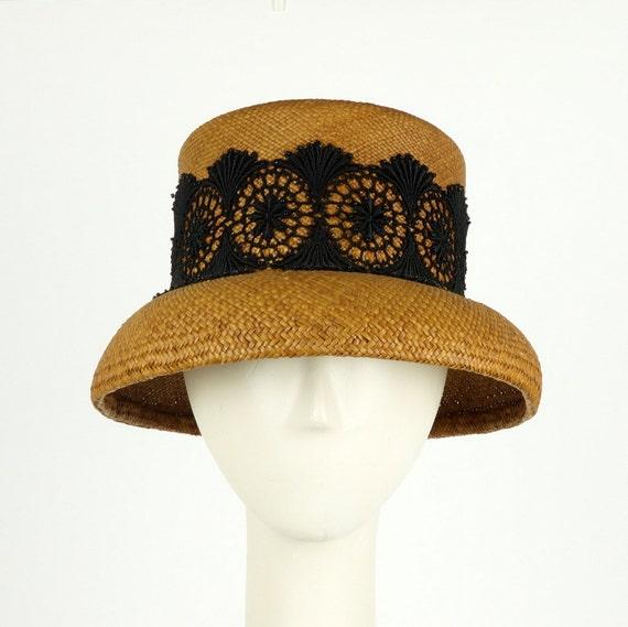 Vintage Style Womens Hat, Cloche Hat, Lampshade Hat, Panama Straw Hat, Summer Hat, Wedding Hat, Formal Hat, 1920s Fashion Hat, Straw Cloche