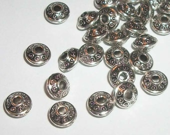 Antique silver pewter 6x4mm saucer shaped spacer beads -- 100 pieces  (MB9064)