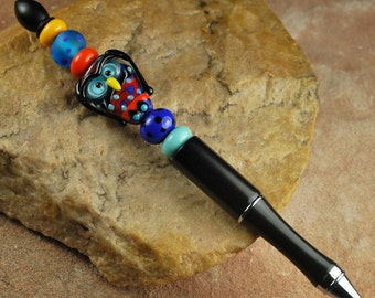 Lampwork Beaded Ink Pen, Owl #P444
