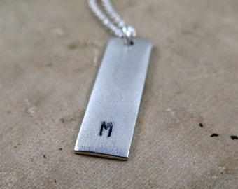Silver Initial Bar Necklace, Silver Bar Necklace, Personalized Necklace, Initial Necklace, Custom Hand Stamped