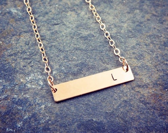 Mother's Day Gift, Gold Bar Necklace, Gold Initial Necklace, Initial Bar Necklace, Hand Stamped Jewelry, Personalized Necklace