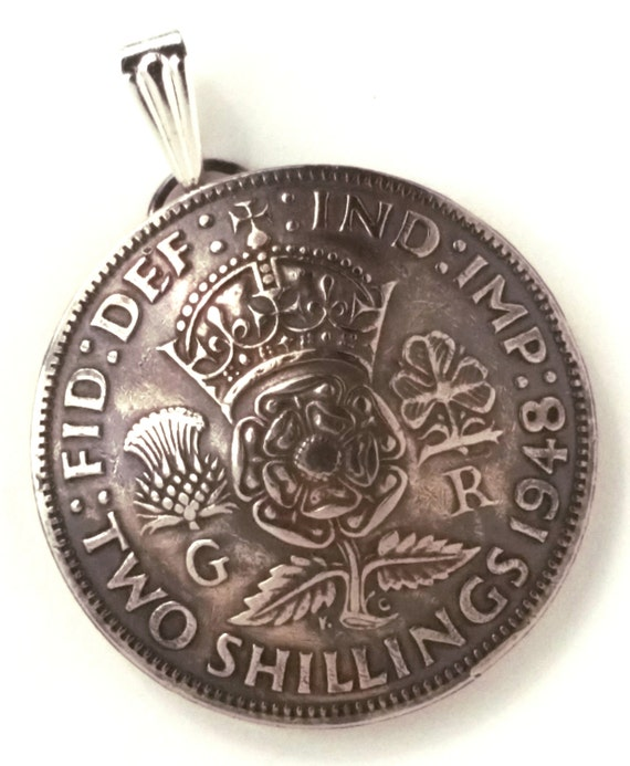 UK England Crown Tudor Rose Shilling Pendant Vintage Jewelry Necklace Great Britain British Coin Christmas Teacher Gift Pendant or Keychain