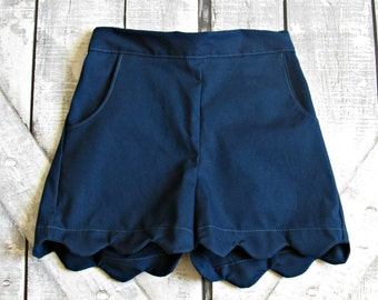 Girls Navy Blue Scallop Edge Shorts- Baby Girl Shorts- Toddler Shorts- Back To School Shorts- 3 6 12 18 Mths- 2 3 4 5 6 7 8 10 12 Years