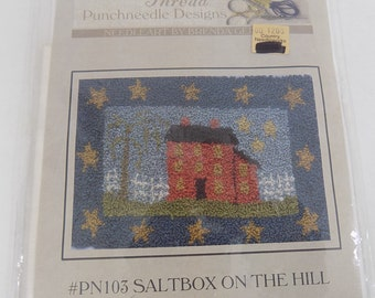 """With Thy Needle & Thread Punch Needle SaltBox on The Hill PN103  3.5 x 5"""""""