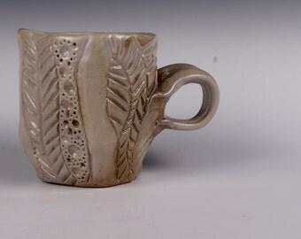 Small Wood Fired Carved Mug