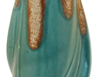 Denbac French Pottery Art Deco Twist Drip Glaze Vase Shape 28