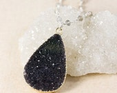 50% OFF Black Druzy Teardrop Necklace – Choose Your Gemstone