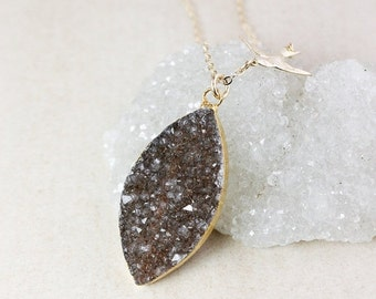 ON SALE Natural Agate Druzy Necklace – Choose Your Druzy – Swallow Charm