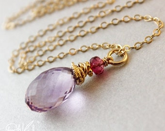 25% OFF Pink Amethyst Pink Tourmaline Necklace - 14kt Gold Fill - Bridesmaid Gifts