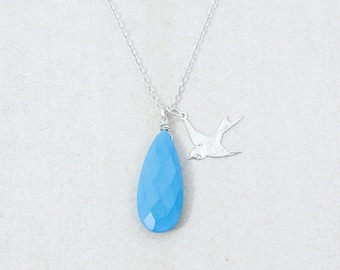 25% OFF Silver Blue Turquoise Necklace with Flying Swallow - Charm Necklace