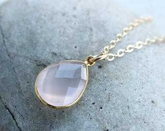 40 OFF SALE Simple Pink Rose Quartz Teardrop Necklace - Gemstone Necklace - 14KT Gold Fill