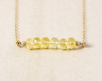Yellow Citrine Bar Necklace – Choose Your Setting