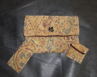 Handmade Jacquard/Tapestry Clutch Purse w/change purse and glasses case