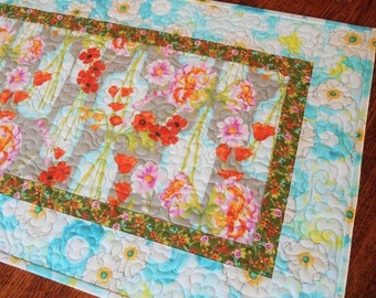 Flower Table Runner in Aqua Grey Pink Orange, Quilted Table Runner, Floral Table Runner, Table Mat, Floral Tablecloth, Quiltsy Handmade