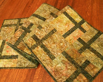 Quilted Batik Table Runner in Warm Neutral Earth Tones, Green Gold and Brown with Leaves and Ferns, Dining Table Decor