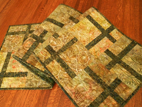 Quilted Batik Table Runner in Warm Neutral Earth Tones, Green Gold and Brown with Leaves and Ferns, Dining Table Decor, Long Runner