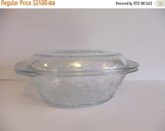 SUMMER Sales Event Vintage Glass Covered Casserole Dish Ornate Flowers Frosted bottom
