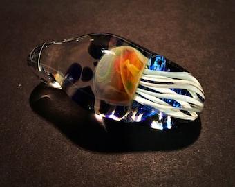 Jellyfish Glass Pendant Blue & Blue Dichroic Boro Lampwork Glass Jewelry Necklace