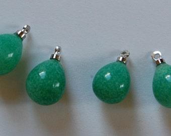 Vintage Glass Jadette Pendants 4 Chinese Jade Green Beads 12mm