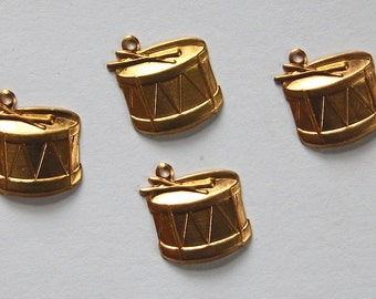 Raw Brass Stamping Snare Drum Musical Pendants 4 Metal Stampings 14mm