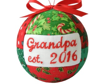 Grandpa est. 2016 Handmade Christmas Ornament First Time Grandpa Quilted Holiday Ornament Tree Decor Ready To Ship by CraftCrazy4U on Etsy