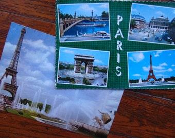 2 Vintage PARIS France Postcards Eiffel Tower Place de la Concorde 1962. 1968